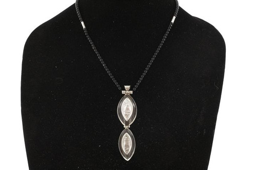 TANEBDATT, Black Agate & Silver Pendant with Raised Bail and Black Beads by The Azel Collection Free Shipping, MSRP($113.99)
