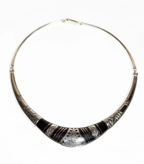 Silver and Ebony Tuareg Collar Style Necklace by The Koumama Collection, Free Shipping, MSRP($289.99)