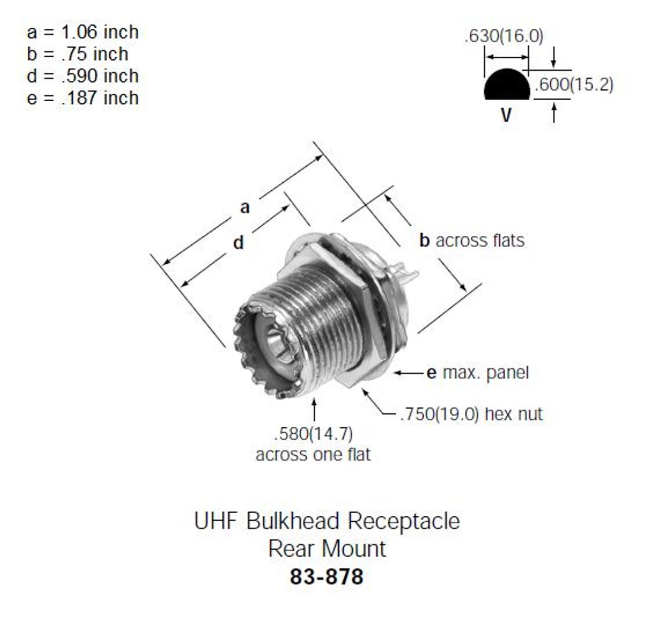 Amphenol 83-878 - UHF-Female SO-239 Bulkhead Connector - Rear Mount