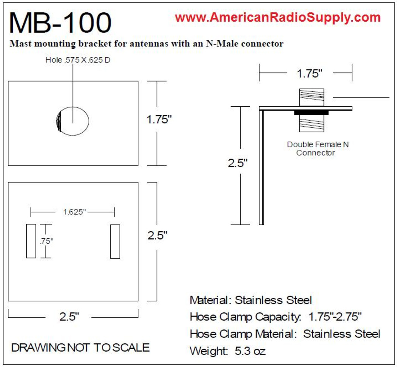 Comet MB-100 - Antenna Mounting Bracket Type N Female Connector