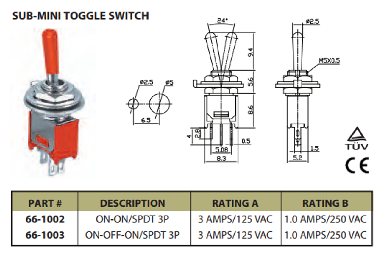 Sub Mini On/On SPDT Toggle Switch 3P 3A 125VAC - P/N CES-66-1002 Vac Spdt Switch Wiring Diagram on