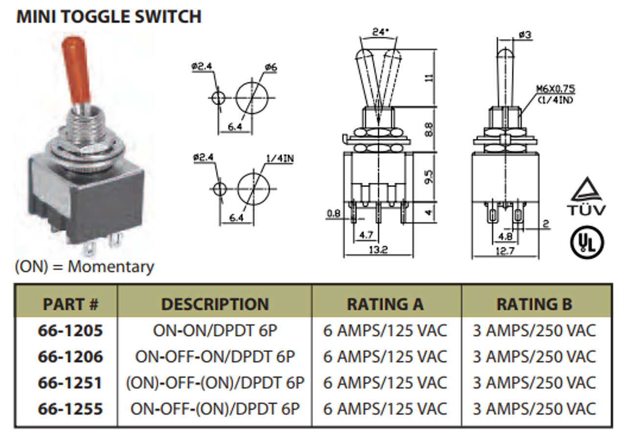 Mini Toggle Switch On/Off/On DPDT 6P 6A 125VAC - P/N CES-66-1255 on 5 wire switch wiring diagram, spst switch wiring diagram, 3 wire switch wiring diagram, relay switch wiring diagram, 4 pin switch wiring diagram, dpdt switch wiring diagram to two loads, two pole switch wiring diagram, timer switch wiring diagram, forward reverse switch wiring diagram, on off on switch wiring diagram, onan generator remote start switch wiring diagram, 240 volt switch wiring diagram, reversing switch wiring diagram, series parallel switch wiring diagram, reverse polarity switch wiring diagram, dpdt switch schematic, boat switch wiring diagram, three-position toggle switch diagram, carling dpdt switch wiring diagram, spdt switch wiring diagram,