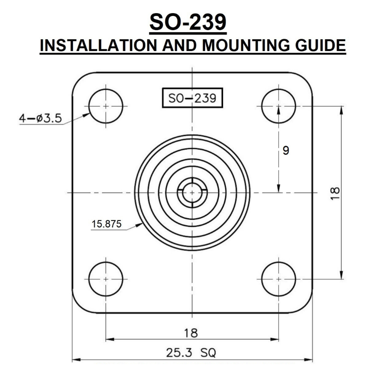 SO-239 UHF-Female 4-Hole Panel Mount Coaxial Connector
