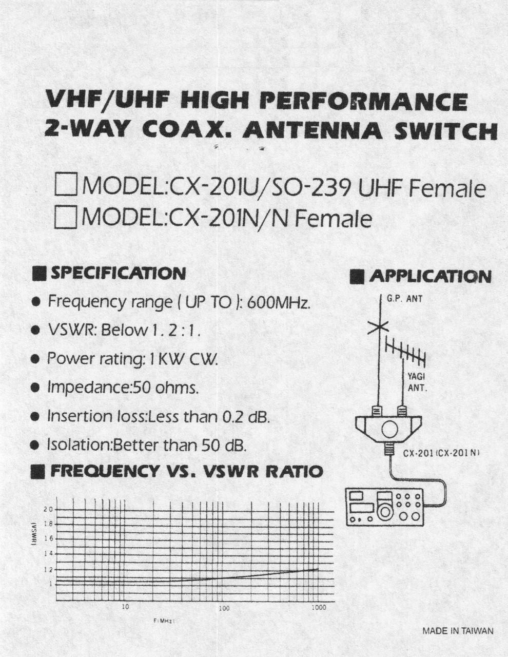 CX-201U - 2-Way Coaxial Antenna Switch - SO-239 UHF Connectors