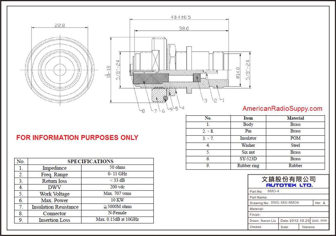 NMO to N-Female Adapter - 1.5-Inch Long