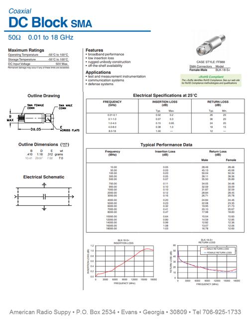 50-Ohm DC Block 0.01 to 18 GHz SMA (ARS-4556)