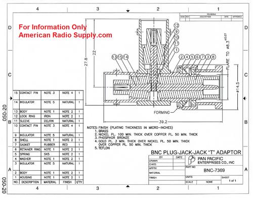 BNC Tee Plug Jack Jack Coaxial Adapter - BNC-7369