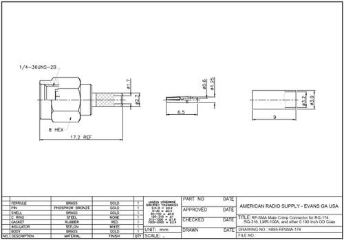 RP-SMA Straight Crimp Male Plug For for RG-174 RG-178 RG-188 Belden 8216