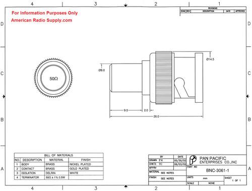 50-Ohm - BNC-Male Coaxial Termination Load ± 1% Tolerance
