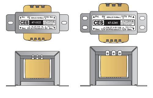 CES Center-Tapped Power Transformer - 120VAC/12VAC .5-AMP - CES-67-1120
