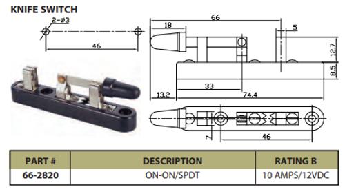 Knife Switch On/On SPDT 10A/12VDC - P/N CES-66-2820