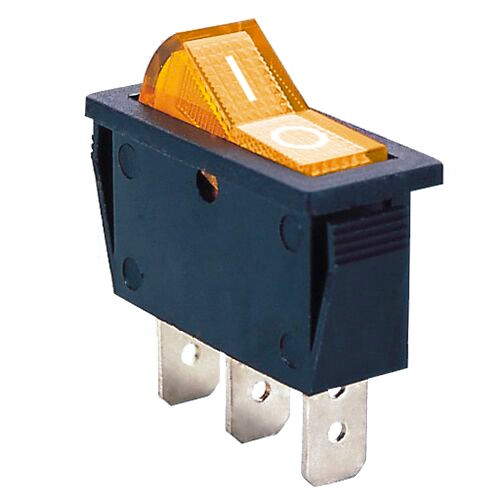 AMBER - Illuminated Rocker Switch On/Off SPST 3P 20A/12VDC -CES-66-2237