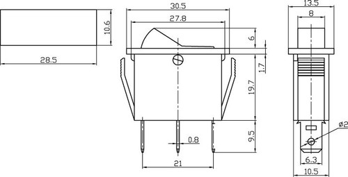 AMBER - Illuminated Rocker Switch On/Off SPST 3P 20A/12VDC -CES-66-2237
