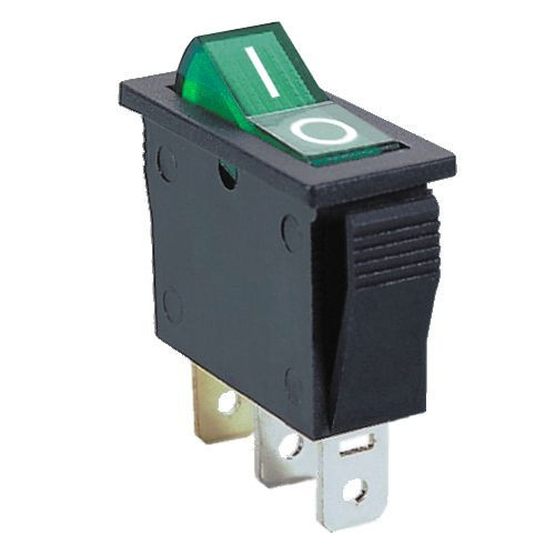 GREEN - Lighted Rocker Switch On/Off SPST 3P 20A/12VDC -CES-66-2209