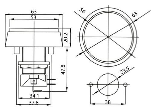 AMBER - Illuminated Game Switch NO/NC 5A 12VDC  - CES-GMSI-1B-CA
