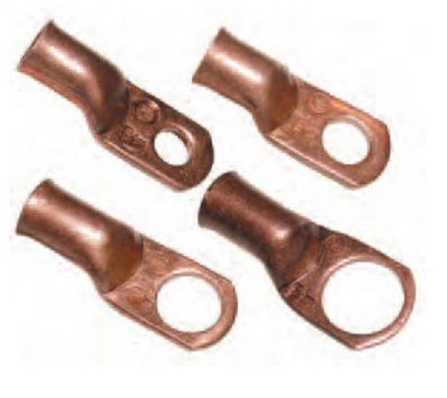 CES-4503 - #4 AWG Seamless Copper Ring Terminal 1/2-Inch Bolt Hole