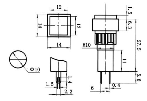 BLUE - Square LED Annunciator Panel Lamp - CES-NN10SBL