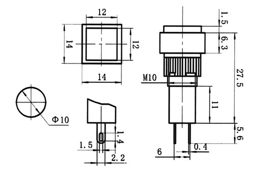 GREEN - Square LED Annunciator Panel Lamp - CES-NN10SGR