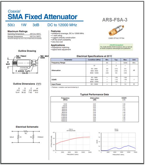 3dB - SMA Fixed Attenuator 1-Watt 50-Ohm DC-12GHz