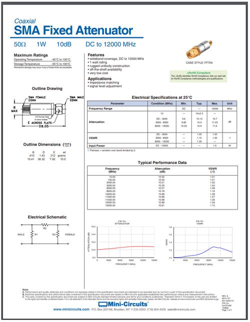 10dB - SMA Fixed Attenuator 1-Watt 50-Ohm DC-12GHz