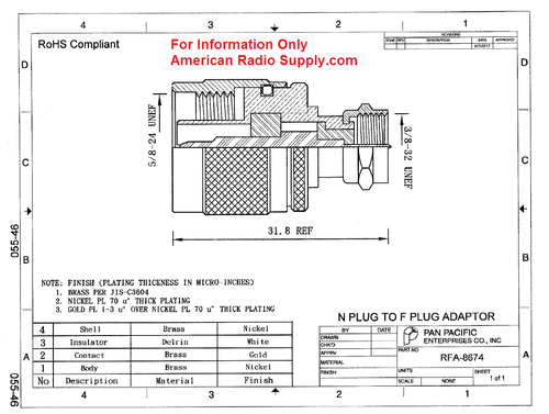Type F-Male to N-Male Coaxial Adapter Connector - RFA-8674