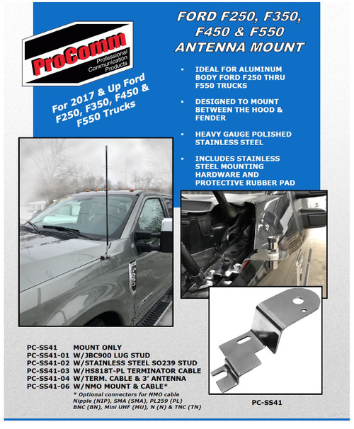 Ford F250 F350 F450 F550 Stainless Antenna Mount Hood - 2017-2020