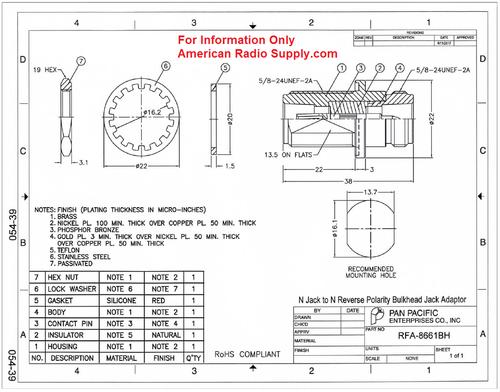 RP-N Female to N-Female Coaxial Adapter Connector - RFA-8661BH