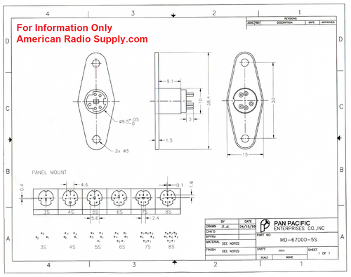 MD-67000-6S - 6-Pin Chassis Mount Mini DIN Socket