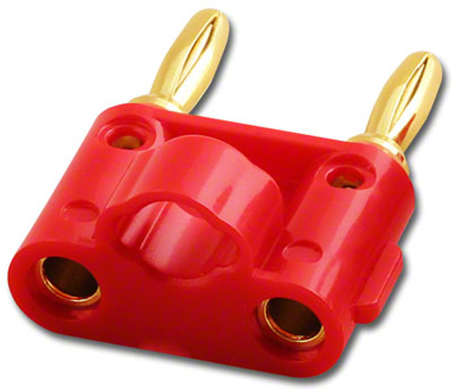 RED - Dual Screw Type - Twin Banana Plug - Gold Plated Contacts