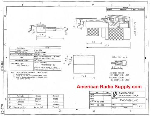 TNC Straight Male (Plug) Crimp Connector for LMR400