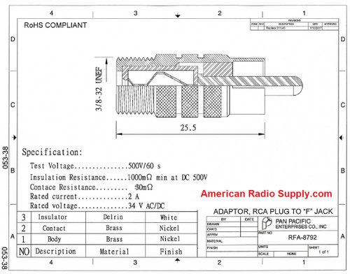 F-Female to RCA-Male Plug Coaxial Adapter (RFA-8792)