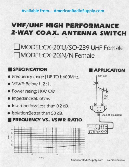 OPEK CX-201N - 2-Way Coaxial Antenna Switch - N-Female Connectors