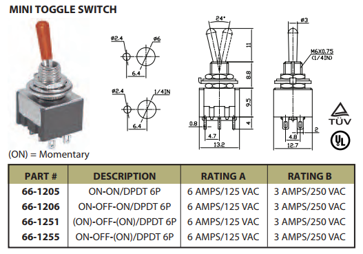 Mini Toggle Switch On Off On Dpdt 6p 6a 125vac P N Ces 66 1251 Momentary