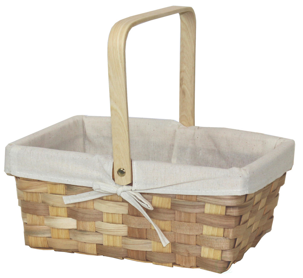 12 Inch Rectangular Woodchip Picnic Basket Lined with White Fabric