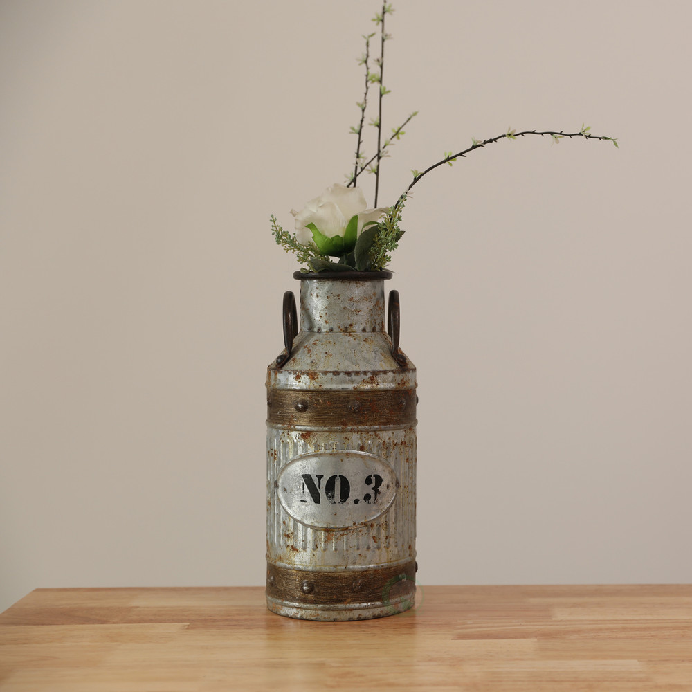 Galvanized Metal Rustic Milk Can