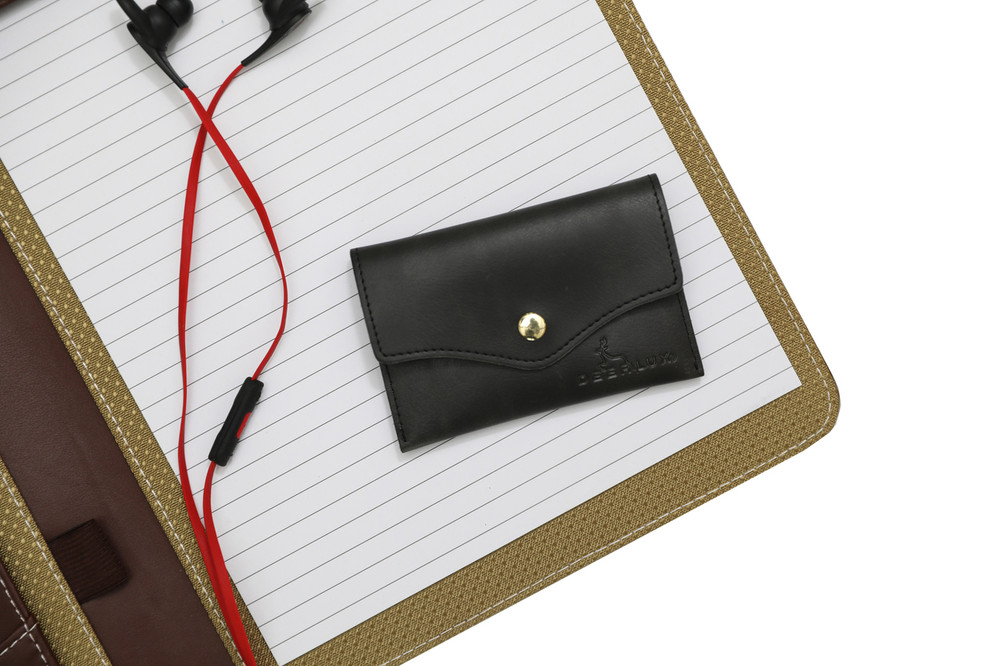 Leather Card Holder with Snap-Small Leather Wallet