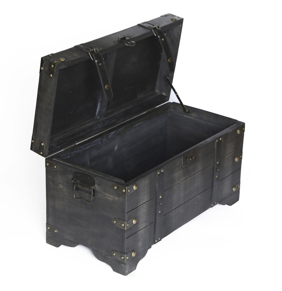 Distressed Black Medium Wooden Storage Trunk