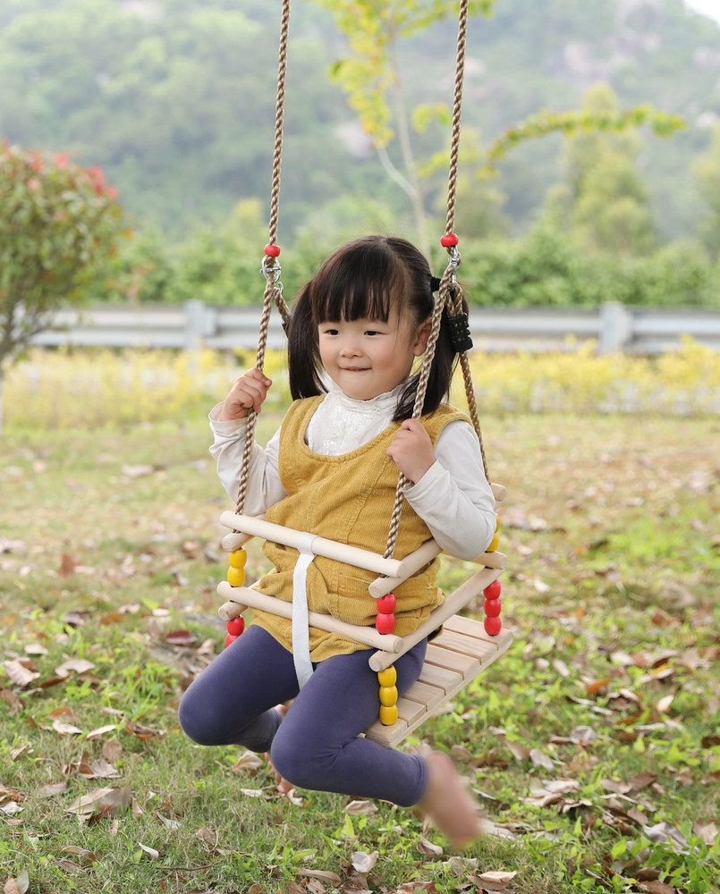 Wooden Baby Swing with Hanging Ropes, for Babies and Toddlers