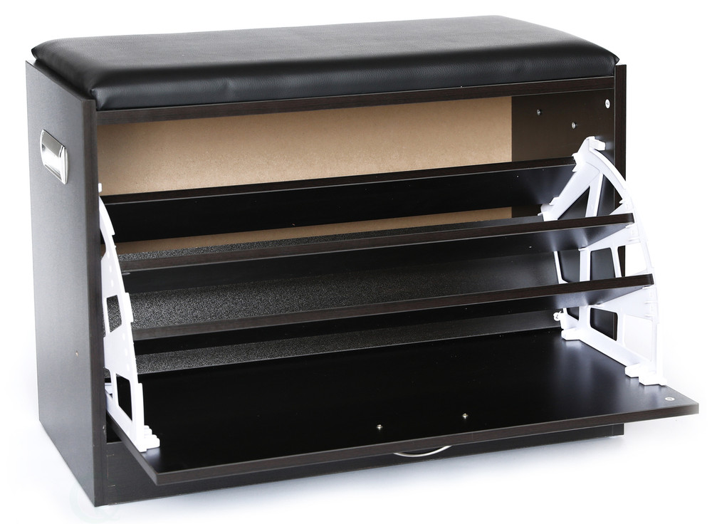 Charmant ... Black Wooden Fold Out Shoe Organizer   Shoe Storage Bench With Leather  Cushion ...