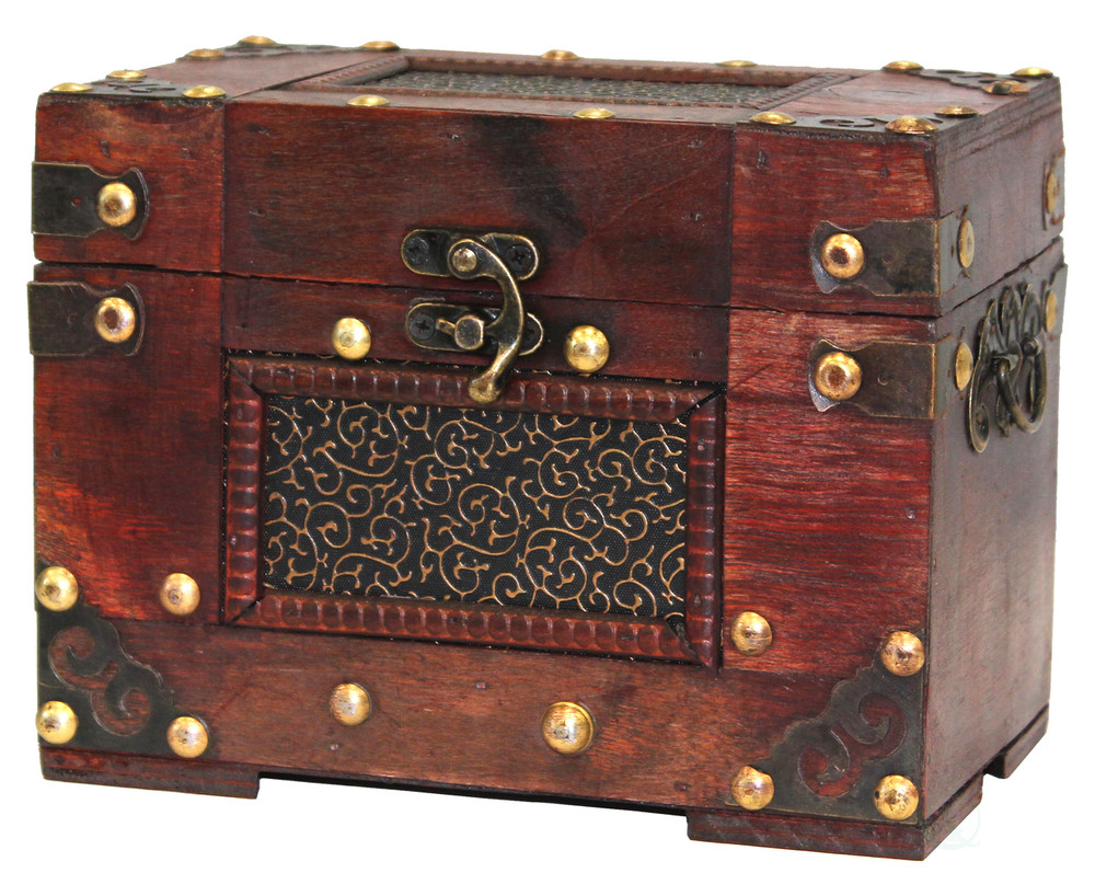 Rustic Studded Index/Recipe Card Box with Antiqued Latch