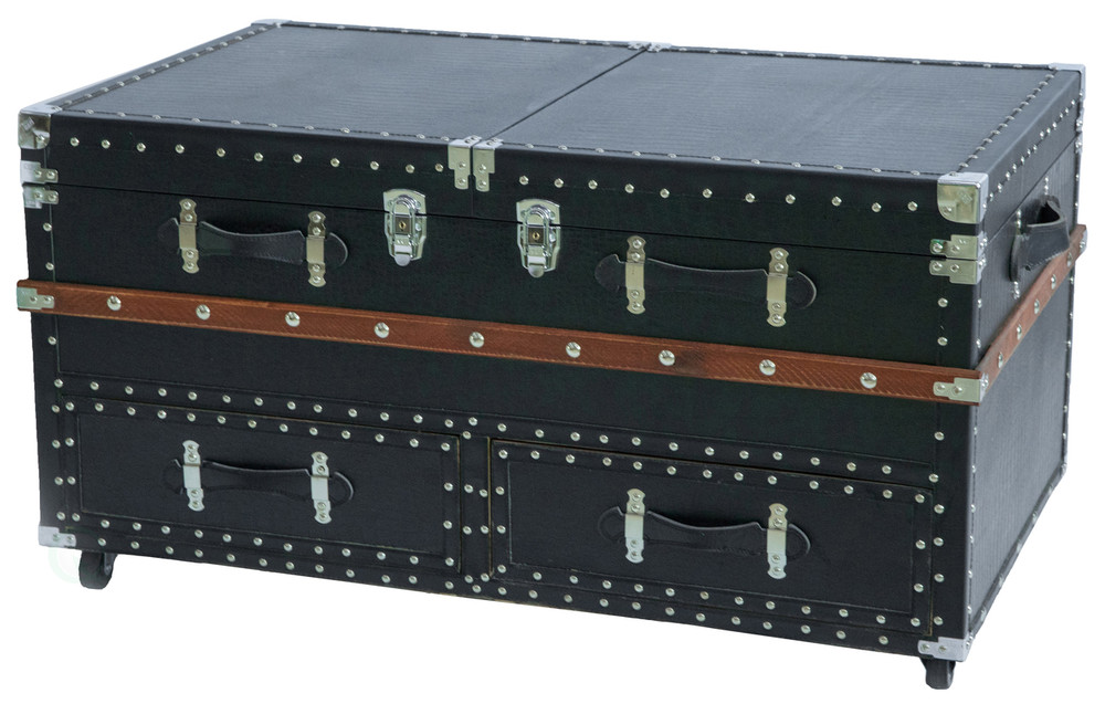 Black Crocodile Leather Coffee End Table and Wine Bar Trunk with Sliding Top and Drawers