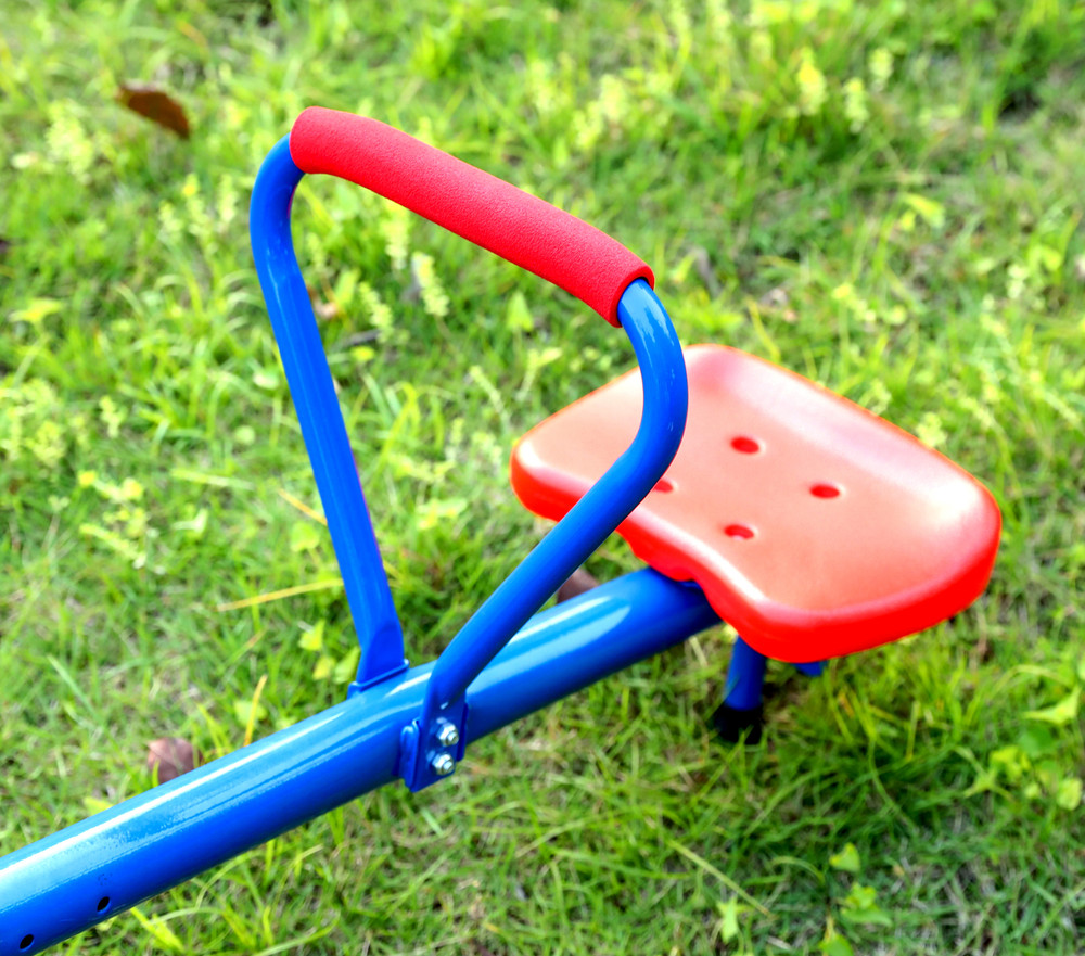 Extendable Outdoor Red and Blue Metal Rotating Seesaw