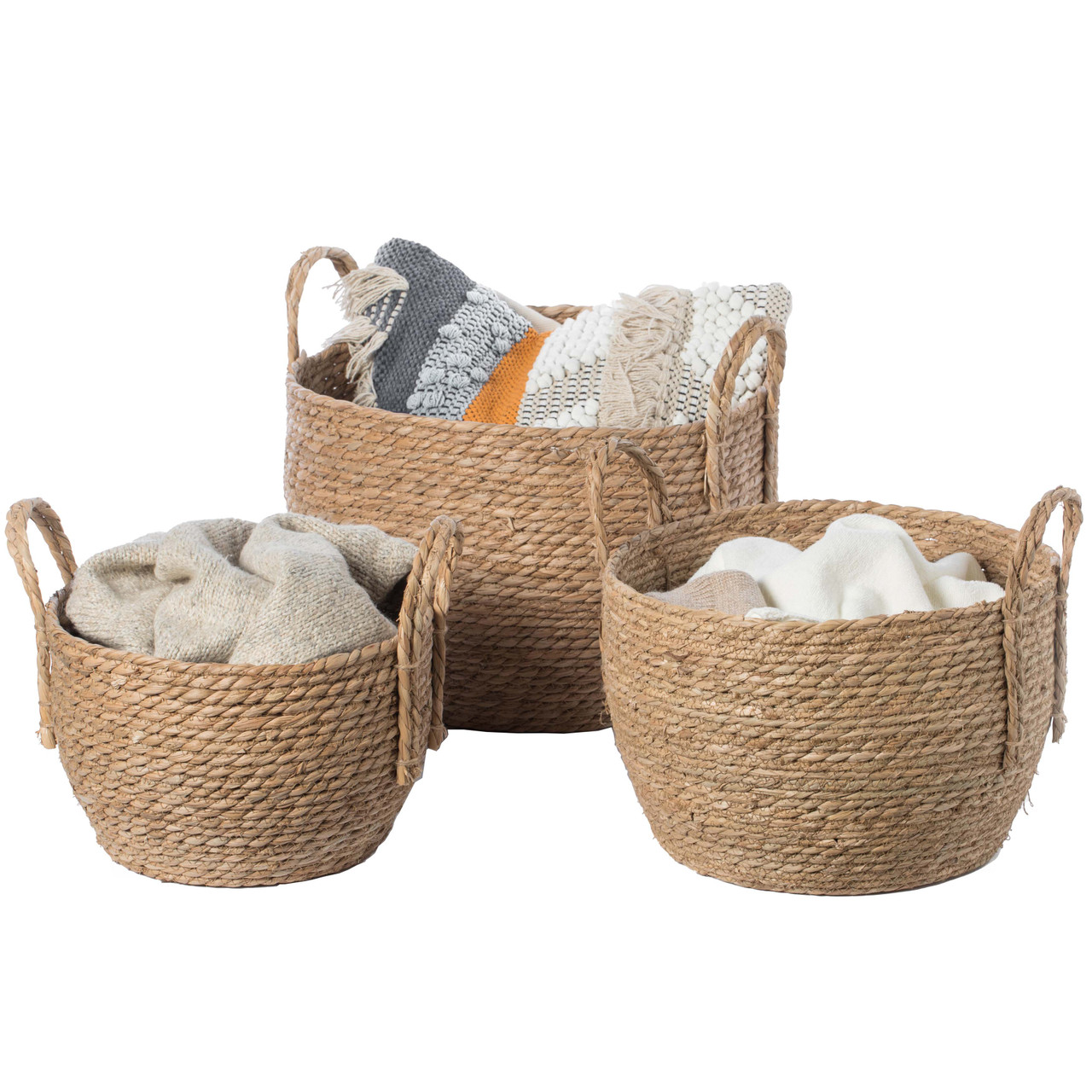 Decorative Round Wicker Woven Rope Storage Blanket Basket With Braided Handles Quickway Imports Inc