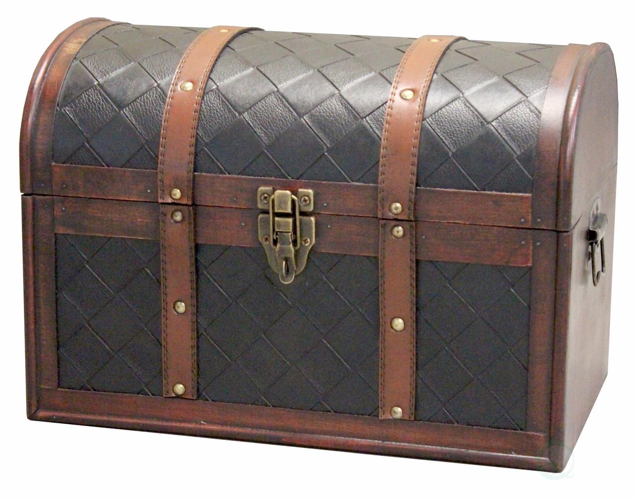 QI003029 New Vintiquewise Decorative Leather Treasure Trunk Box