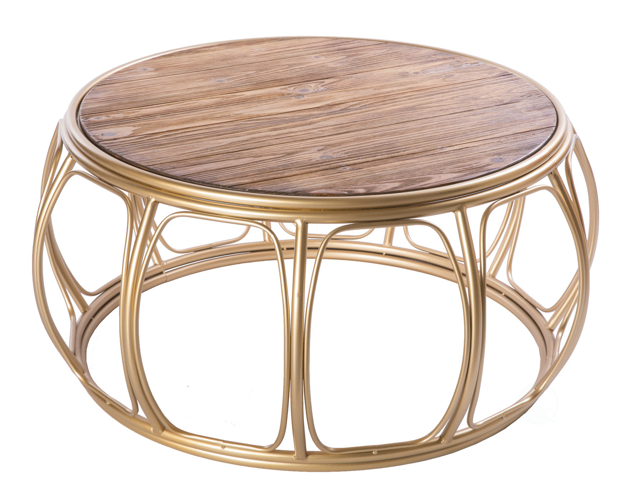 Large Round Wood And Metal Coffee Table Quickway Imports Inc