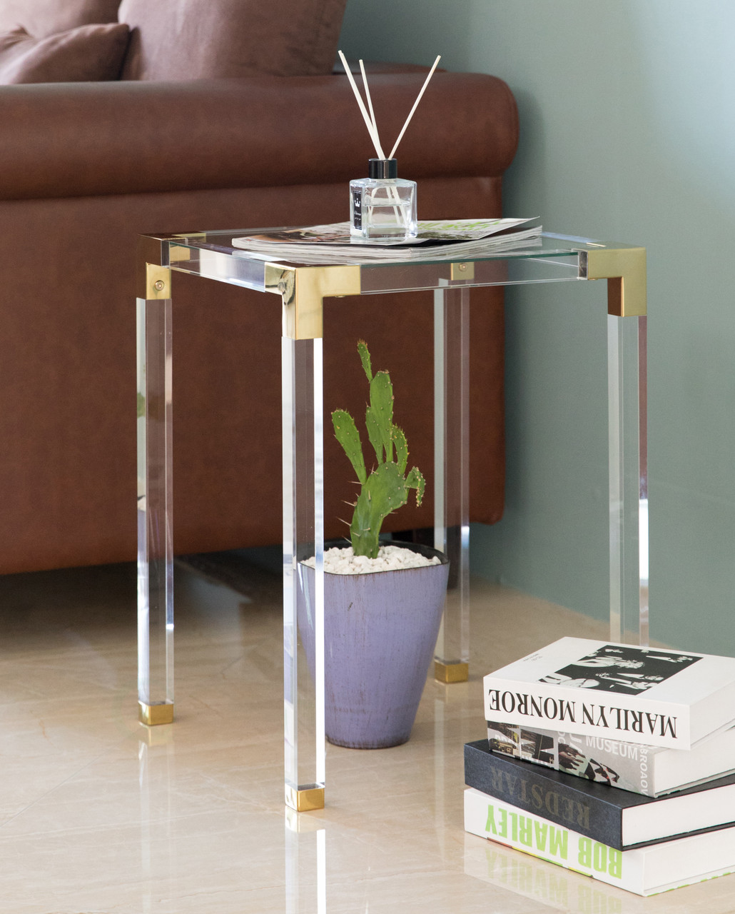 Picture of: Square Acrylic Gold Metal Modern Tempered Glass End Side Table Quickway Imports Inc