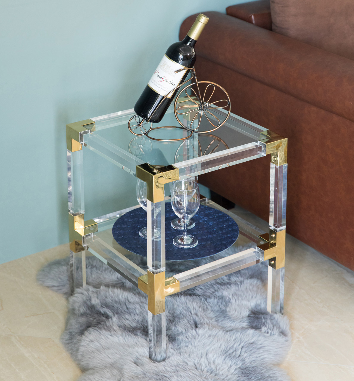 Square Acrylic Gold Metal Modern End Side Table With Tempered Glass Shelf Quickway Imports Inc