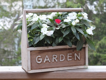 Distressed Wood Garden Carry Planter