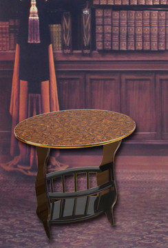 Oval Side Table with Magazine Holder-Espresso Brown Finish