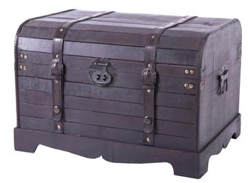 Antique Style Black Wooden Steamer Trunk